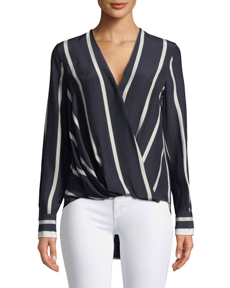 Rag & Bone Victor Striped Draped Silk Blouse