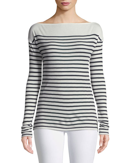 Madison Bateau-Neck Long-Sleeve Rib-Knit Top