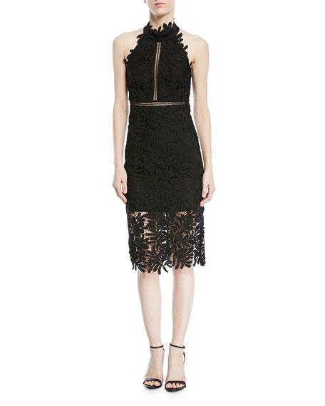 Kara Halter Lace-Guipure Cocktail Dress