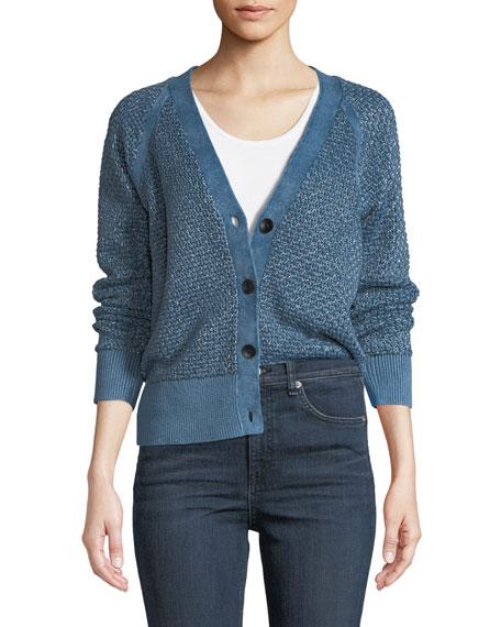 Kyra V-Neck Button-Front Metallic Knit Cardigan