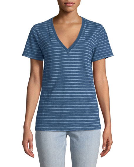 The Vee Short-Sleeve Jersey Striped T-Shirt
