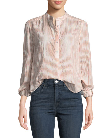 Prairie Long-Sleeve Striped Crinkled Peasant Blouse