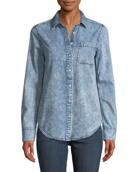 Bleachout Classic Long-Sleeve Button-Down Denim Shirt