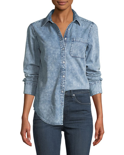 Bleachout Classic Long-Sleeve Button-Down Denim Shirt