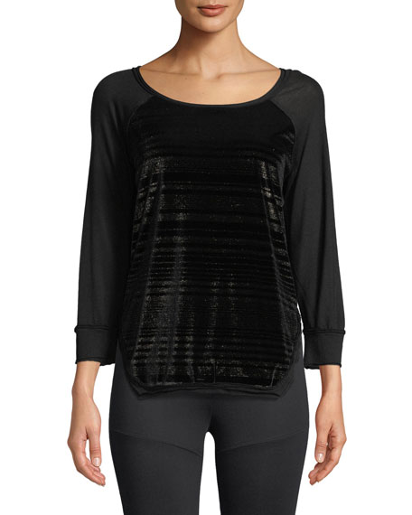 Script Scoop-Neck Pullover Velvet Top with Jersey & Metallic
