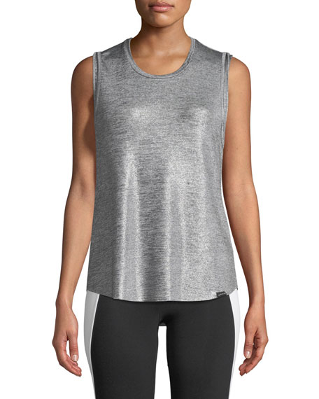 Koral Activewear Press Crewneck Metallic-Knit Performance Tank