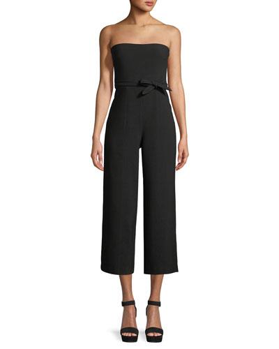 Isla Strapless Tie-Waist Cropped Jumpsuit