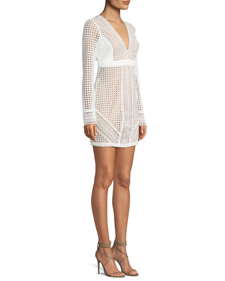 Clio V-Neck Long-Sleeve Eyelet Cocktail Dress