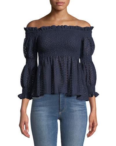 Aspen Off-the-Shoulder Smocked Crochet Lace Top