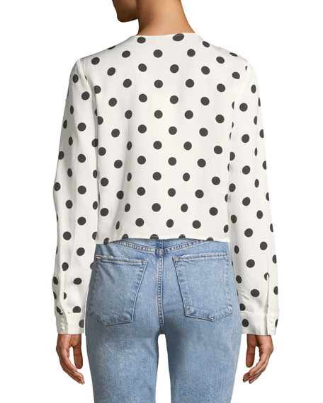 Tie-Front Long-Sleeve Dot-Print Shirt