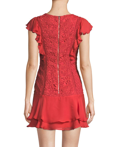 Bennet Round-Neck Lace-Guipure Dress with Ruffled Frills
