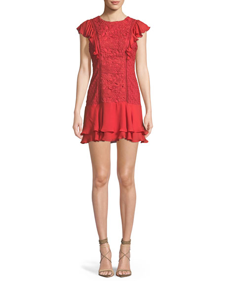 Parker Bennet Round-Neck Lace-Guipure Dress with Ruffled Frills