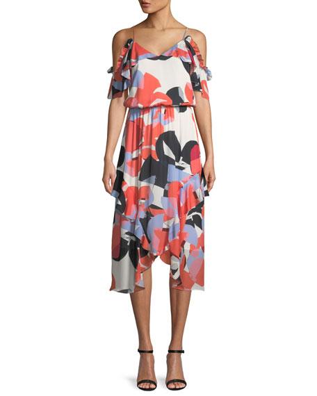 Parker Kam Abstract-Print Silk Dress