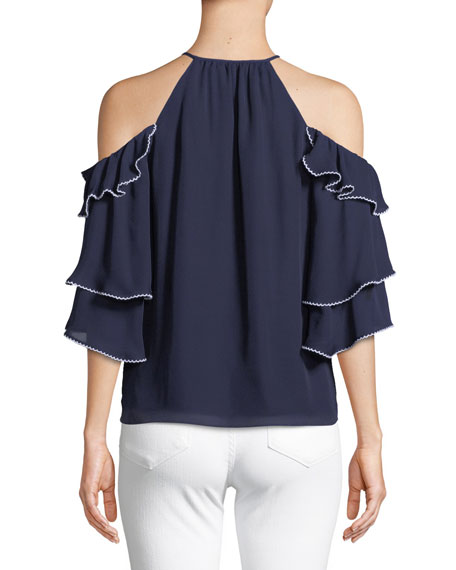 Cindy Cold-Shoulder Ruffled Silk Top