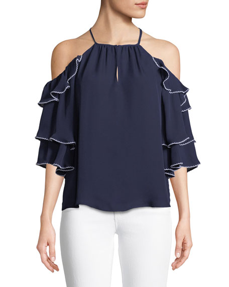 Parker Cindy Cold-Shoulder Ruffled Silk Top