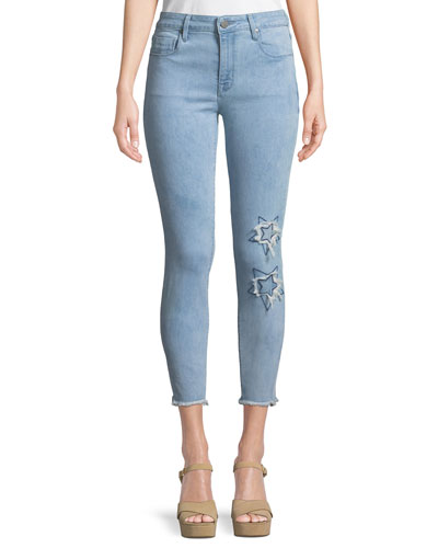 Ava Appliqué Skinny Ankle Jeans