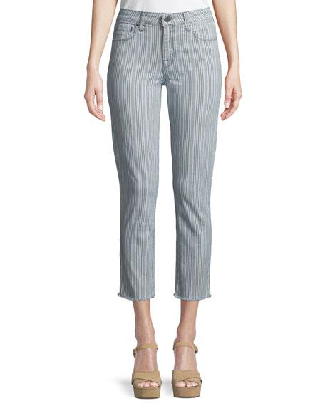 Fiji Striped Raw-Edge Ankle Skinny Jeans