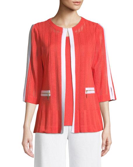 3/4 Sleeve Zipper-Pocket Jacket