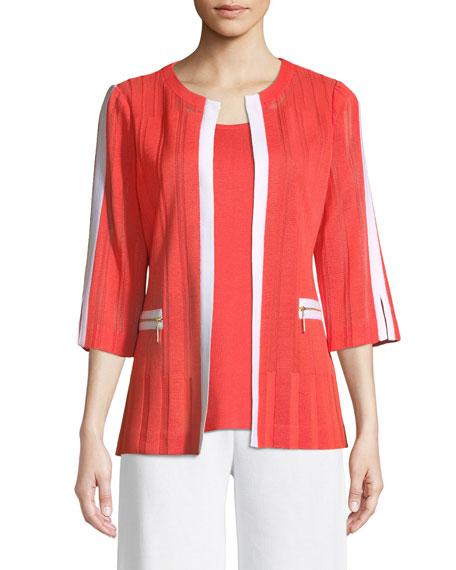 Misook 3/4 Sleeve Zipper-Pocket Jacket, Plus Size and