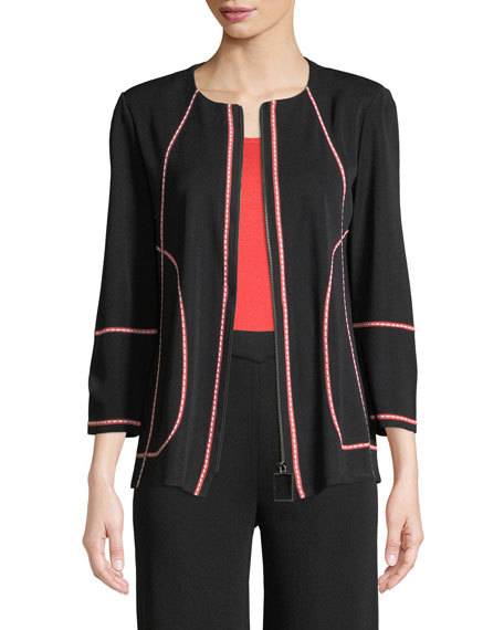 Misook Street Map Zip-Front Jacket, Plus Size and