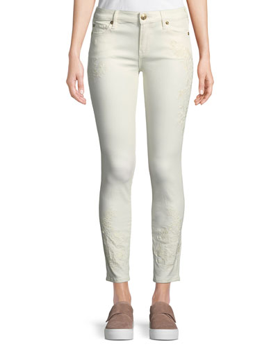 Halle Mid-Rise Skinny-Leg Jeans with Embroidery