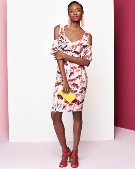 Monaco Floral-Print Cold-Shoulder Cocktail Dress