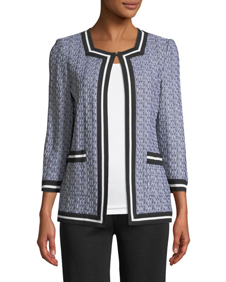 3/4-Sleeve Textured Jacket, Plus Size