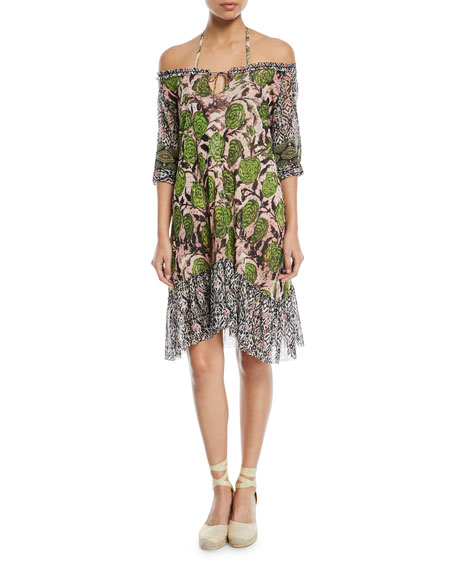 Off-the-Shoulder Mixed-Print Coverup Dress