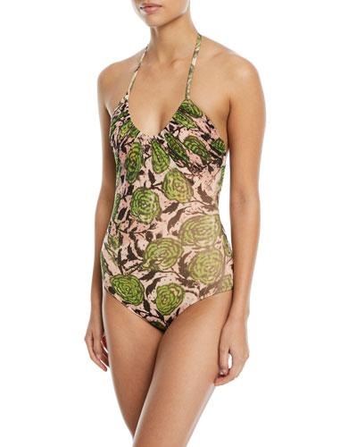 Scoop-Neck Halter Printed One-Piece Swimsuit