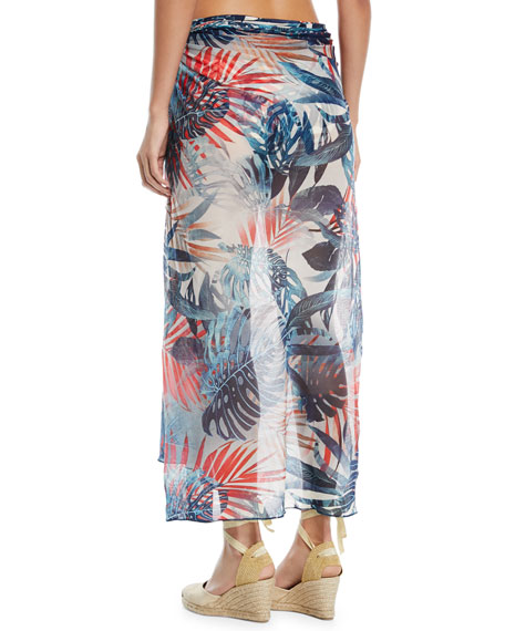 Fern-Print Tulle Pareo Coverup