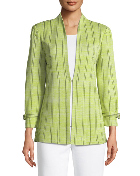 Striped Knit Jacket W/ Belted Cuffs