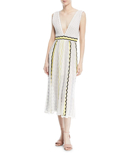 Ribbon Wave Plunge-Neck Dress