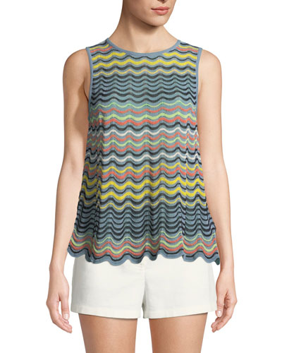 Wave Ripple-Knit Tank Top