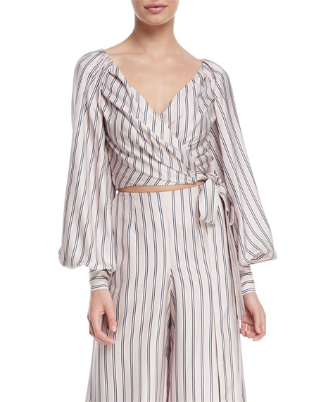 Zimmermann Sunny Striped Satin Crop Wrap Blouse