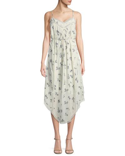 Pintuck Floral Bouquet-Print Silk Slip Dress
