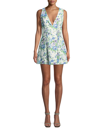 Breeze Lace-Up Sleeveless Fit-and-Flare Floral-Print Mini Dress