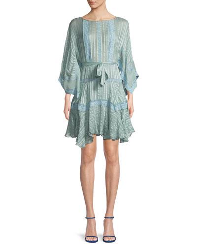 Breeze Veil Tonal-Striped Silk Short Dress