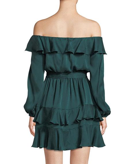 Flounce Off-the-Shoulder Silk Mini Dress