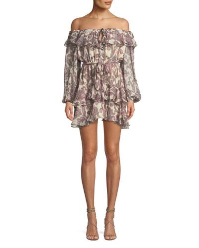 Breeze Off-the-Shoulder Paisley-Print Silk Dress