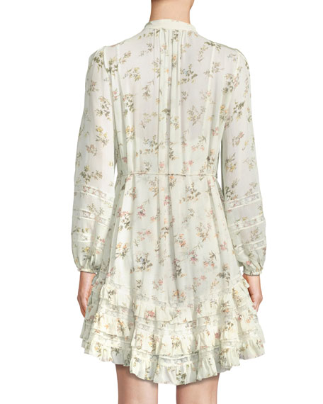 Whitewave Pintuck Floral-Print Ruffle Mini Dress