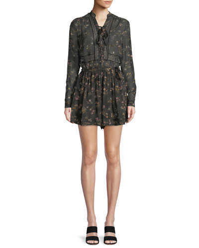 Long-Sleeve Floral-Print Playsuit w/ Lace Trim