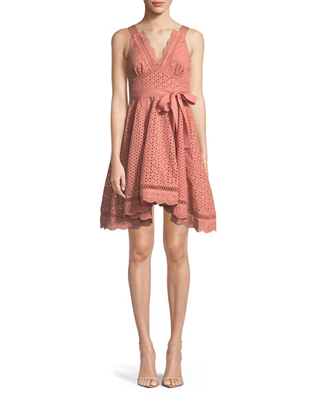 La Maison Talulah Rapture Sleeveless V-Neck Fit-and-Flare Eyelet