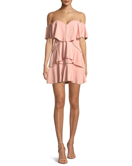 Penelope Off-the-Shoulder Tiered Ruffle Mini Dress