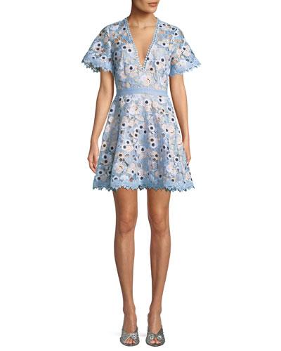 Infatuation Short-Sleeve Lace Guipure Dress