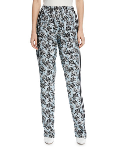 Orchid-Print Straight-Leg Silk Track Pants
