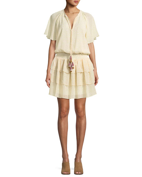 Rebecca Minkoff Pebble Tassel-Neck Floral Motif Dress with