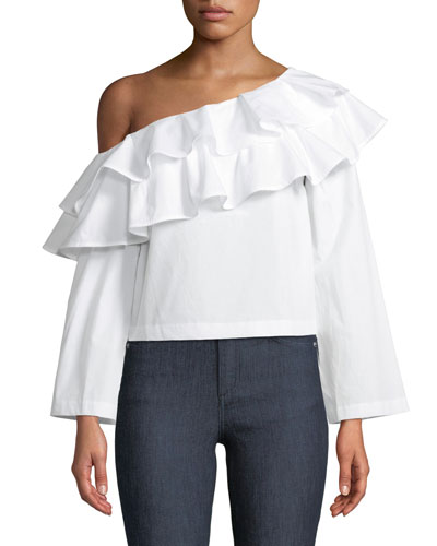 Mia One-Shoulder Poplin Top
