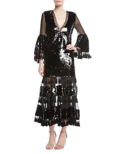 Galata V-Neck Tassel Cocktail Dress w/ Sequins