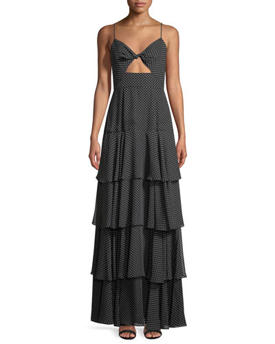 Tiered Polka-Dot Sleeveless Twist Gown
