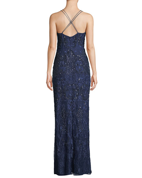 Beaded Crisscross Lace Gown